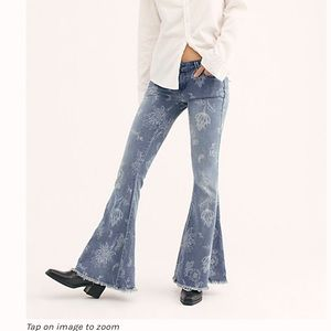 Free People Floral Print Flare Jeans